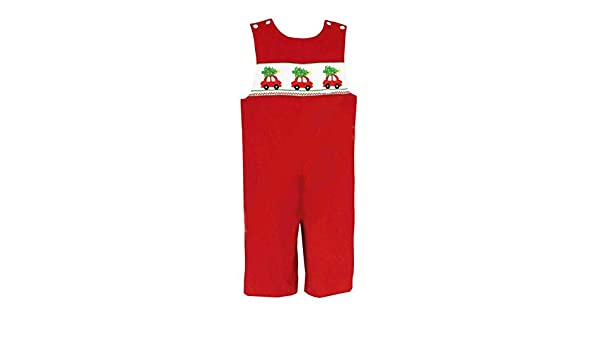 7c380ecbb Amazon.com: Anavini Smocked Christmas Tree on Car Red Overall Infant Toddler:  Clothing