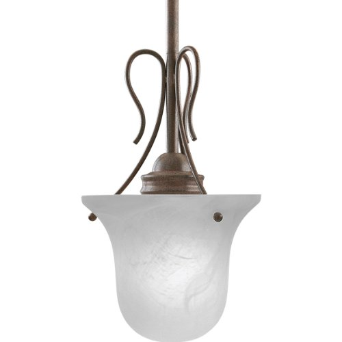 - Progress Lighting P5053-33 1-Light Stem-Hung Mini-Pendant with Etched Glass, Cobblestone