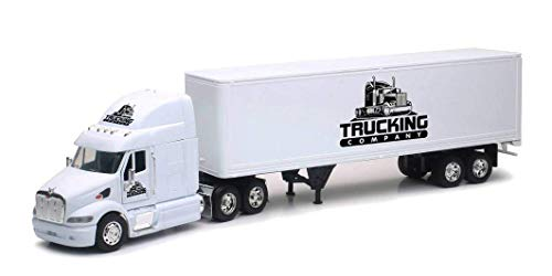 (Shop72 Personalized Diecast NewRay 1:32 Scale Peterbilt 387 Truck w/Dry Van Trailer with Logo or Name for Promotional Use - White)