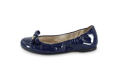 Prada Kvinners Patent Lær Logo Bow Knuse Ballett Flat, ...