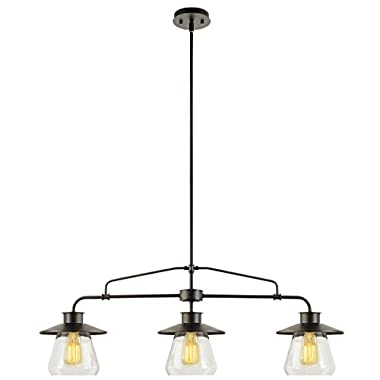 Globe Electric 3-Light Vintage Pendant, Oil Rubbed Bronze Finish, Clear Glass Shades, 3x E26 60W Bulbs (sold separately), 64845