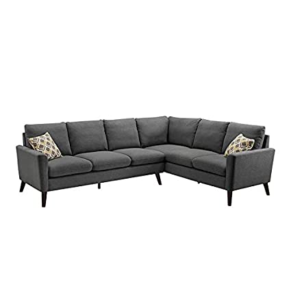 Amazon.com: Bliss Brands Linen Fabric Modern L-Shaped Sectional Sofa ...