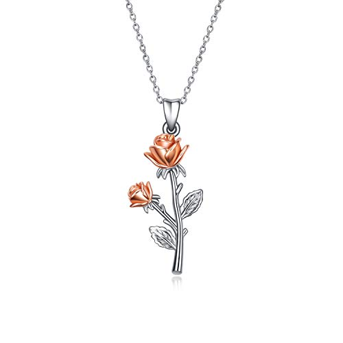 YFN Rose Necklace 925 Sterling Silver with Rose Gold Plated Pendant Jewelry for Women Girls
