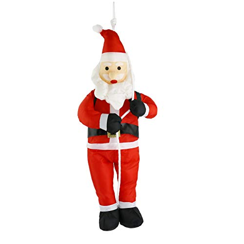 Santa Christmas Claus Ornament Tree (Athoinsu 24'' Climbing Santa Claus Christmas Tree Ornament Stuffed Father Christmas Toy Indoor Fireplace Decoration Xmas Party Prop(Style 1))