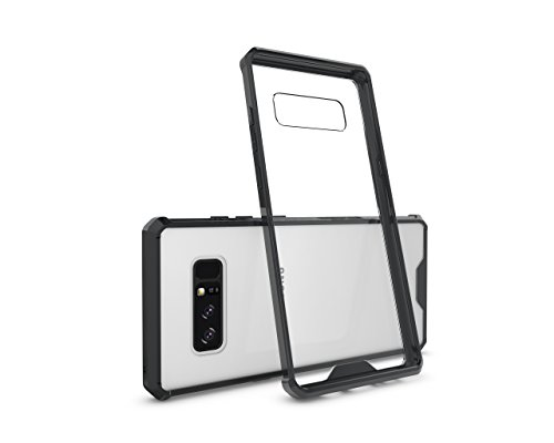 Gold 12' Charger Plate (Galaxy Note 8, Daker Transparent Clear Case with Hard Slim Plastic Back Plate and Shockproof PC Frame for Samsung Galaxy Note 8 (Black))