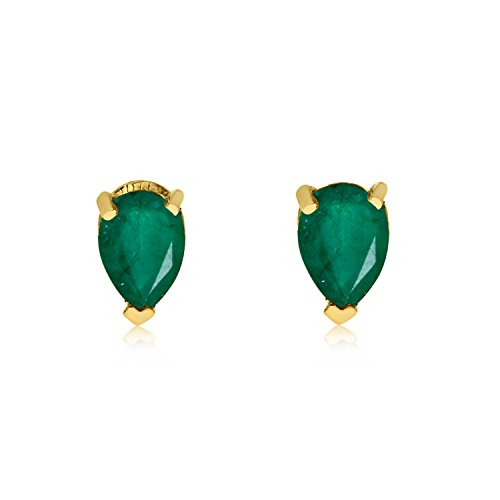 14k Yellow Gold Emerald Pear-Shaped Earring ()