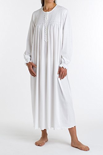 P-Jamas Heirlooms Long Sleeve Gown (Tulipan) L/White/Pink (Pink Heirloom Dress)