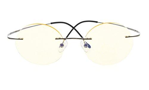 Rimless Anti Blue Ray Titanium Round Computer Glasses Women Men Reading Eyeglass(Gunmetal) +2.75