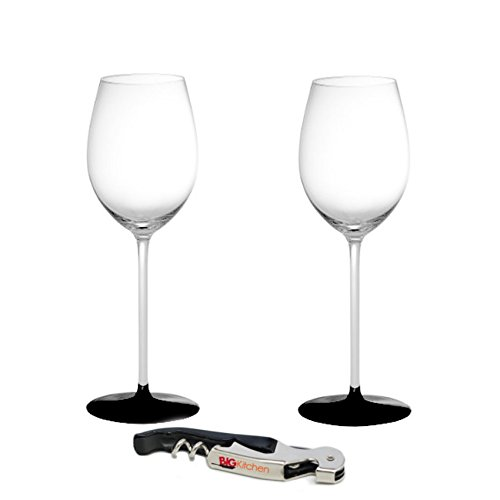 Riedel Sommeliers Black Tie Leaded Crystal Loire 2 Piece Glass Set with Bonus BigKitchen Waiter's Corkscrew