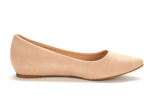 DREAM PAIRS Women's Jilian Nude Suede Low Wedge Flats Shoes - 10 M US by DREAM PAIRS (Image #2)
