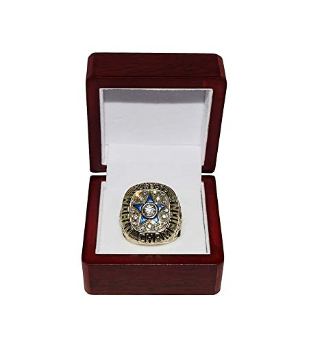 DALLAS COWBOYS (Roger Staubach) 1971 SUPER BOWL VI WORLD CHAMPIONS (24-3 Victory Vs. Dolphins) Rare Vintage Collectible Gold Football Championship Replica Ring with Cherrywood Display Box from Trackside Autographs