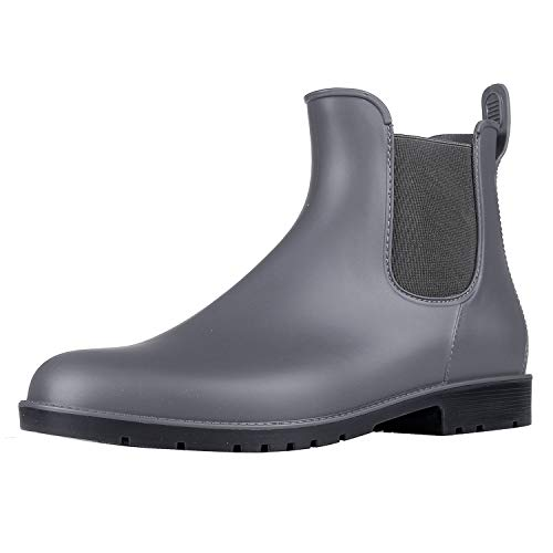 Asgard Women's Short Rain Boots Waterproof Slip On Ankle Chelsea Booties GY34 Grey