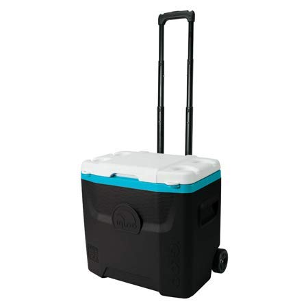 Igloo 28-Quart Quantum Wheeled Cooler - Black/Turquoise by Igloo