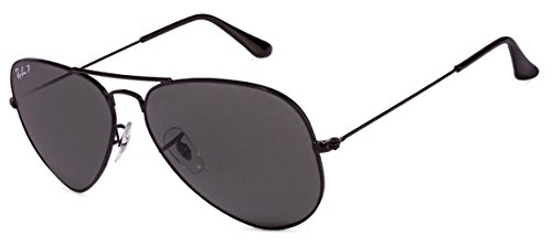 Ray Ban RB3025 Aviator Sunglasses Unisex (55 mm Frame Black Polarized Solid Lens, 55 mm Frame Black Polarized Solid Lens)