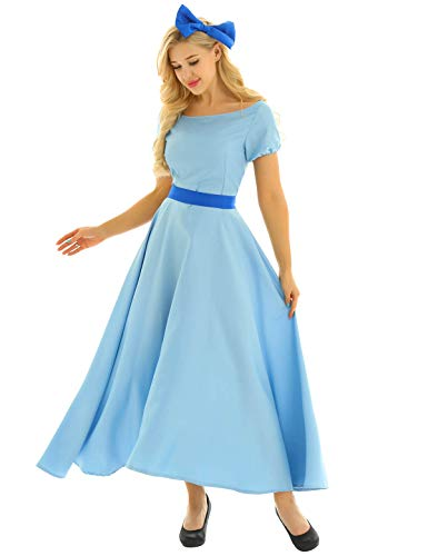 iiniim Women's Adult Princess Wendy Dress Costume Halloween Cosplay Fancy Party Maxi Dress Light Blue ()