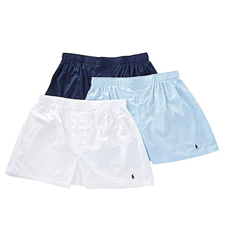 Polo Ralph Lauren Classic Fit Woven Cotton Boxers 3-Pack, XL, Navy/Blue/White