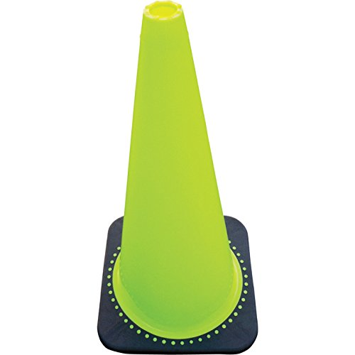 JBC Safety RS70032C LIME JBC 28'' Lime PVC Revolution Series 1-Piece Traffic Cone with Black Base