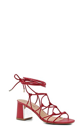 YourPrimeOutlet Womens Willow Wide Fit Cage Tie up Gladiator Sandals Red