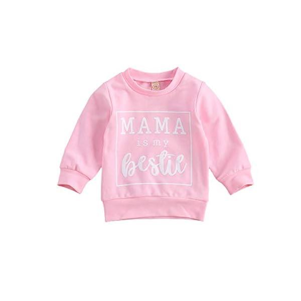 Felpa T-Shirt Bambino Bambina Unisex Maglia in Cotone Girocollo a Maniche Lunghe con Stampa di Lettere Casual Carino 0-3… 1