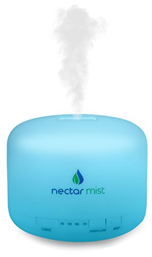 Nectar Mist Ultrasonic 500ml Aromatherapy Essential Oil Diffuser Humidifier with 4 Timer Settings, 7 LED Color Changing Lamps and Waterless Auto Shut-Off (Nectar Mist)