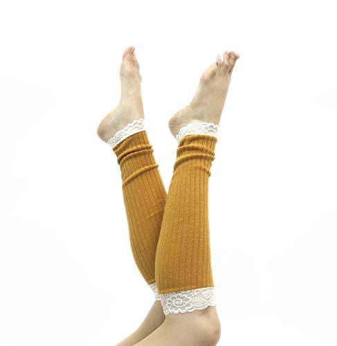 - Long Lace Rib Knit Leg Warmers (Mustard Yellow)
