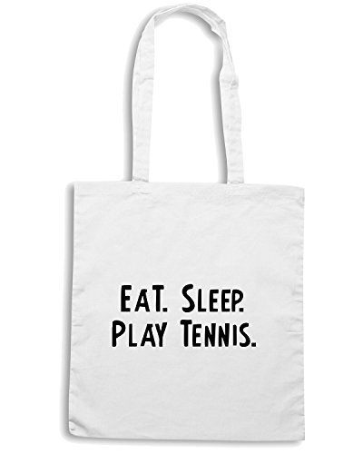 T-Shirtshock - Bolsa para la compra OLDENG00051 eat sleep play tennis white Blanco