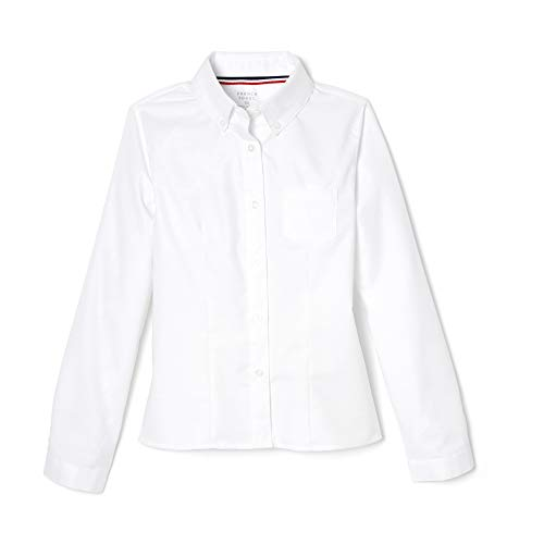 French Toast Girls' Long Sleeve Oxford Blouse, White, 16,Big Girls (Junior Uniform Dress)