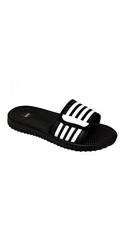 SLR Brands Men's Slides Slip On Sandal Slipper Comfortable Shower Beach Shoe Flip Flop (US 7, Black/White)