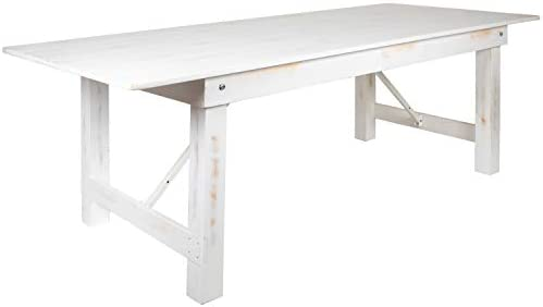 Flash Furniture HERCULES Series 8 x 40 Rectangular Antique Rustic White Solid Pine Folding Farm Table