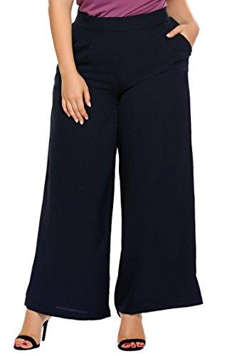 Zeagoo Womens Plus Size Cropped Capri Palazzo Pants Gaucho Fold Waist Lace Trim,Navy Blue,22W ()