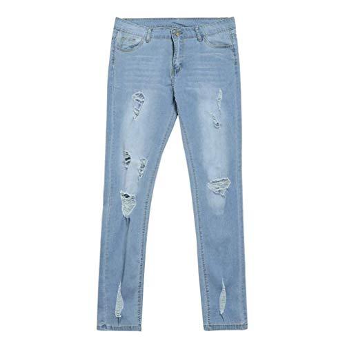 Tamaño Skinny Ropa El Agujero Blau Señoras Cintura Recortadas De Vaqueros Adelina Delgado Mezclilla Más Rasgado Lápiz Alta Estiramiento Pantalones Casuales P8n6q