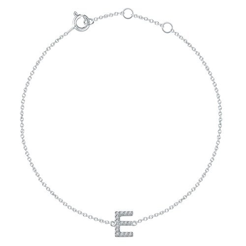 14k White Gold E Polished .06 Dwt Diamond 6-7 Inch Initial Bracelet