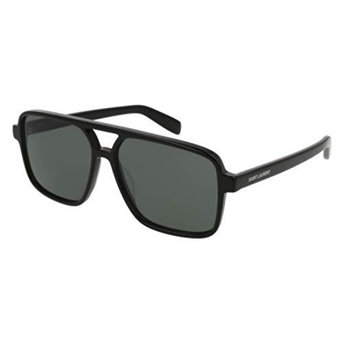 (SAINT LAURENT SL 176-001 Black Squared Sunglasses 58mm)
