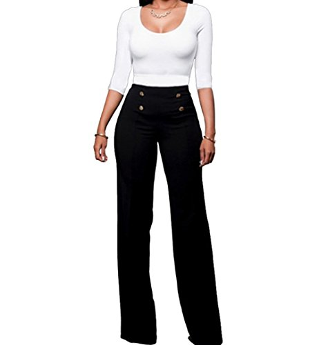 Cresay Women's High Waist Wide Leg Long Palazzo Bell Bottom Pants-black-XL -