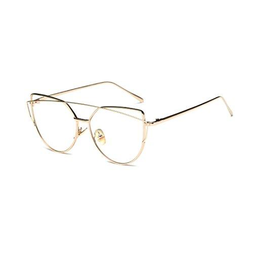 Fheaven Fashion Women Twin-Beams Classic Metal Frame Mirror Sunglasses Cat Eye Glasses - Essentials Eyeglass Frames