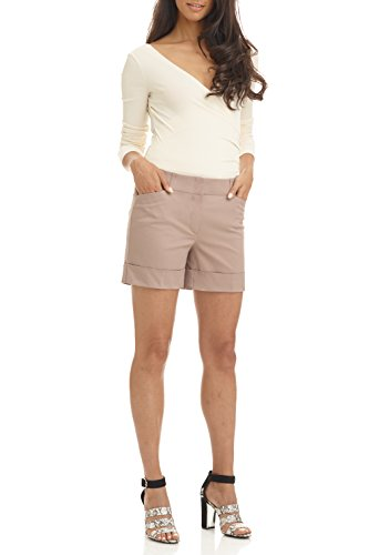REKUCCI Women's Stretch Cotton Spandex Cuffed Perfect Chino Short (18,Khaki) Womens Perfect Khaki Shorts
