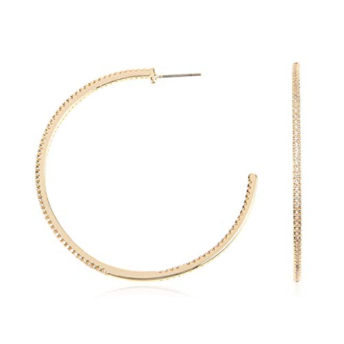RIAH FASHION Lightweight Rhinestone Pave Statement Hoop Earrings - Sparkly Bridal Wedding Cubic Zirconia Crystal Wire Round, Teardrop Pear, Heart (Delicate Pave Hoops - Gold)