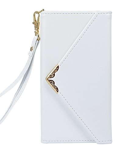 iPhone X Leather Cover Wallet Case, Tiamat Envelope Design Flip Case for iPhone X 2017 Release, Ultimate Durable with Card Holder and Slot – White