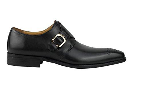 Herren Braun Schwarz 2Ton brüniert Echt Leder Mönch Schnalle Loafer Schuhe 6,5789101111,5 Schwarz