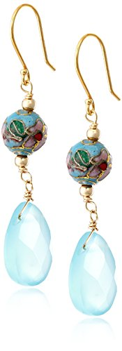 Gold-Filled Blue Chalcedony and Blue Cloisonne Earrings