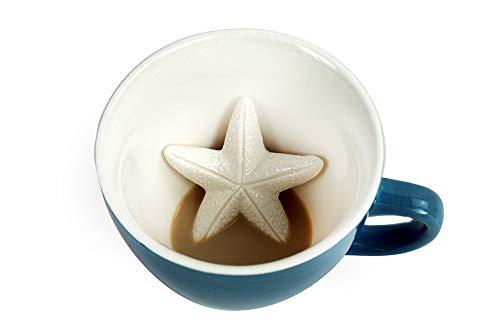 CREATURE CUPS Starfish Ceramic Cup (11 Ounce, Magic Blue)   Hidden Animal Inside   Coffee Mugs & Tea cups   Sea star