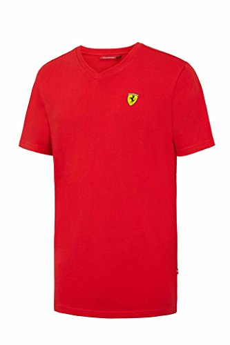Ferrari Men's Red Classic V-Neck T-Shirt with Embroidered Scudetto on Chest - Ferrari Kimi