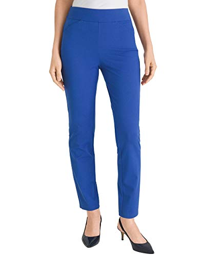 (Chico's Women's Travelers Collection Crepe Pants Size 8 M (1 REG) Blue)