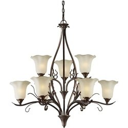 Forte Lighting 2505-09-27 Transitional 9-Light Chandelier, Black Cherry Finish with Shaded Umber - Bronze Pendant Cherry