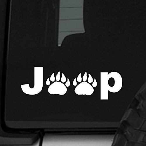 ReplaceMyParts Jeep Bear Panda Grizzly Paw Print 7.5 Inch Car Auto Window Vinyl Decal Sticker for Jeep Wrangler Car Truck SUV