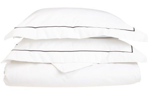 Superior 800 Thread Count, 100% Egyptian Cotton, Single Ply Duvet Cover Set, King/California King, White with Black Embroidery ()