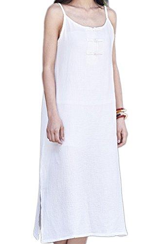 Les Femmes S'habillent Robes sans Manches Coton - Lin t Occasionnels White