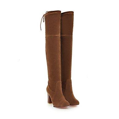 Heart&M Damen Schuhe Wildleder Herbst Winter Komfort Neuheit Modische Stiefel Stiefel Blockabsatz Spitze Zehe Oberschenkel-hohe Stiefel black
