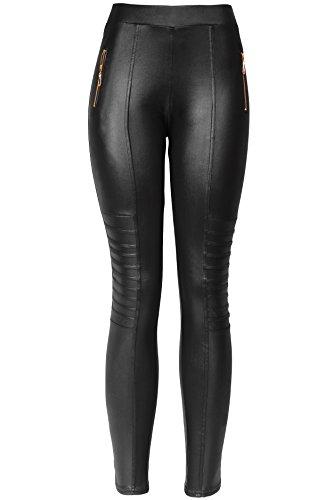 KMystic Sexy Faux Leather Designs Leggings (Medium/Large, Biker) (Imitation Leather Zipper)