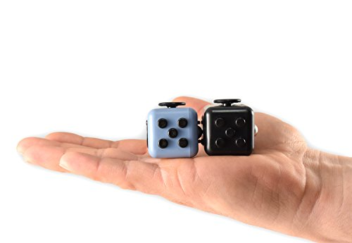 Whirlwind X Stress Relief Fidget Cube, Gray Black and Black, Set of 2 - 3